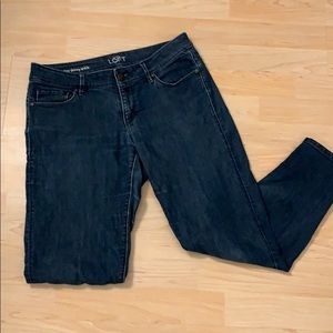 Loft curvy skinny ankle jeans with zipper detail